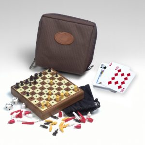Drueke - Travel Mini Game Set - Chess - Checkers - Backgammon - Playing Cards