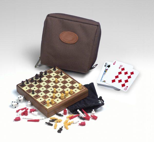 Drueke - Travel Mini Game Set - Chess - Checkers - Backgammon - Playing Cards