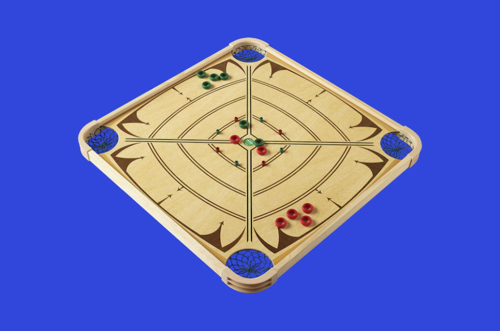 Crokinole on Carrom Game Board